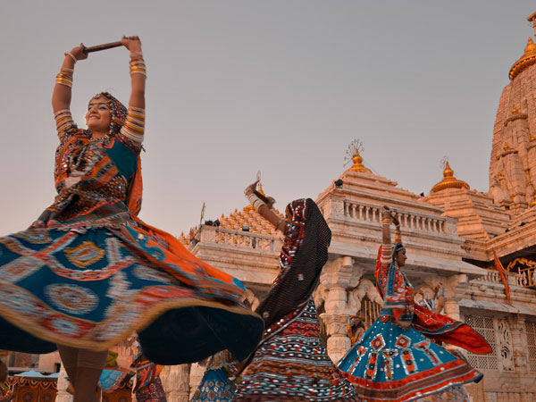 The traditional dance of Garbha being performed at Ambaji temple premises, Gujarat