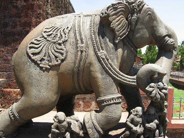 Carved Elephant at the Entrance of the Temple