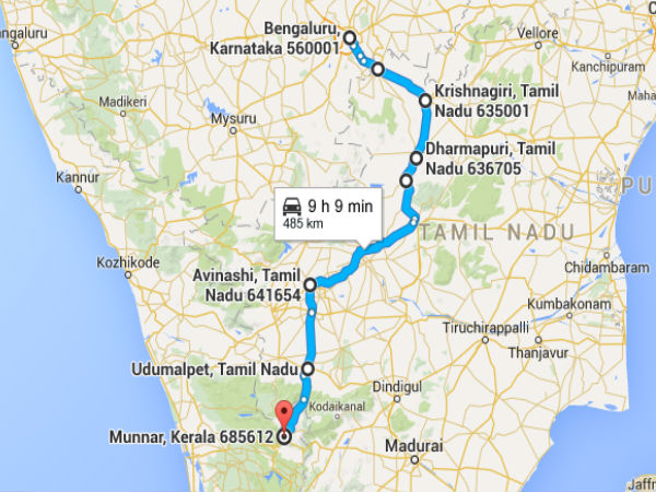 Road Map From Bangalore to Munnar