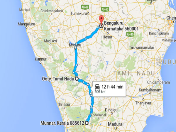route map from bangalore to ooty A Scenic Road Trip From Bangalore To Munnar Nativeplanet route map from bangalore to ooty