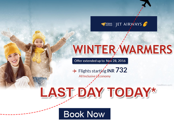 LAST DAY TODAY! Jet Airways Winter Offer
