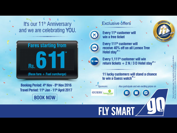 Flight Fares Start from Rs.611 Onwards*