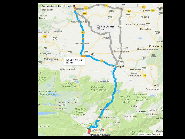 Route from Coimbatore to Munnar