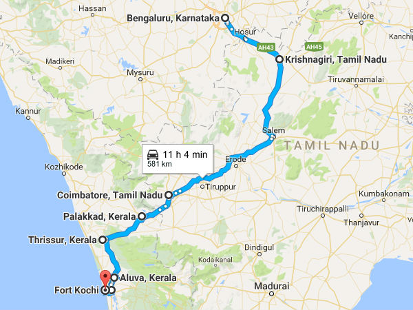 road trip from bengaluru to fort kochi
