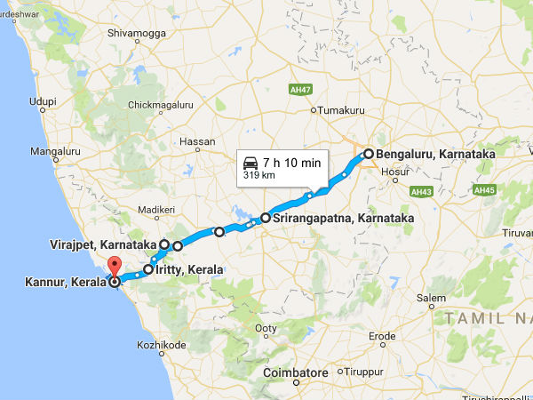 A Perfect Road Trip From Bengaluru To Kannur Nativeplanet - Kannur map
