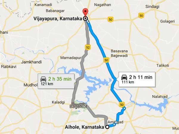 Aihole to Bijapur by road distance