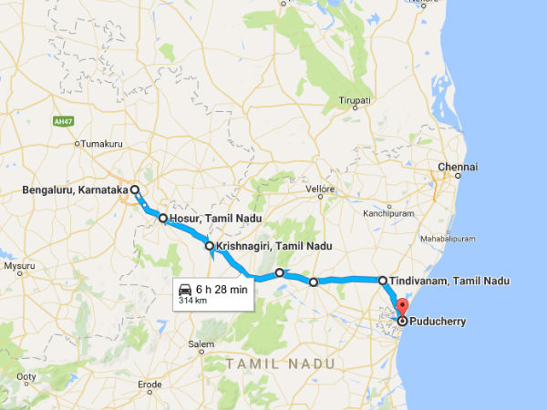 roadtrip from bengaluru to pondicherry