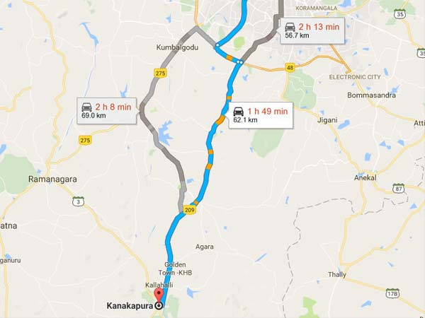 Routes From Bangalore To Kanakapura