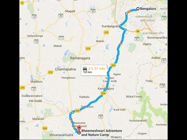 Routes From Bangalore To Bheemeshwari