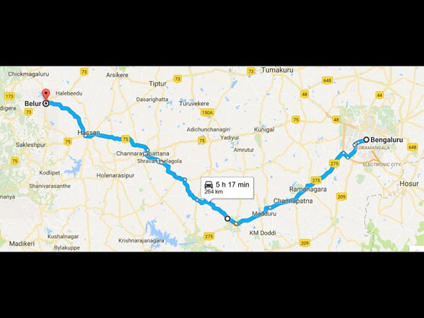 Routes From Bangalore To Belur