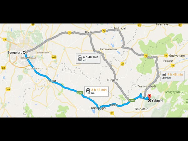 Routes From Bangalore To Yelagiri
