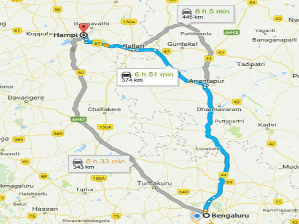 Routes To Reach Hampi From Bangalore