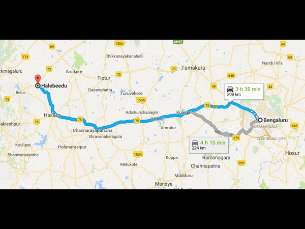 Routes From Bangalore To Halebidu