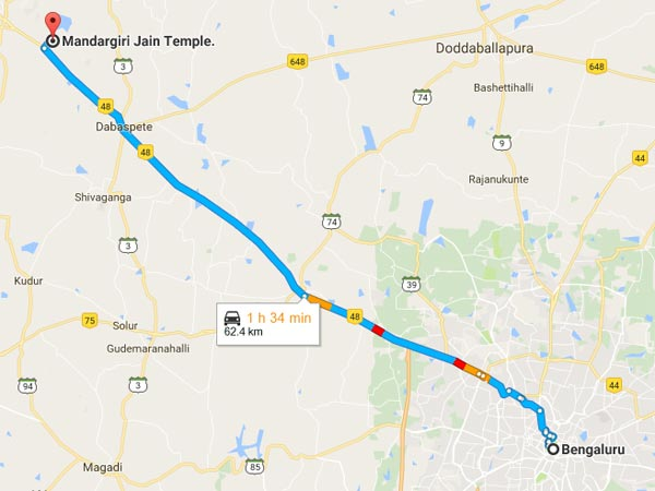 Route From Bangalore To Mandargiri