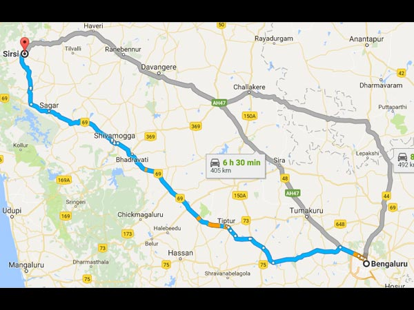 Routes From Bangalore To Sirsi