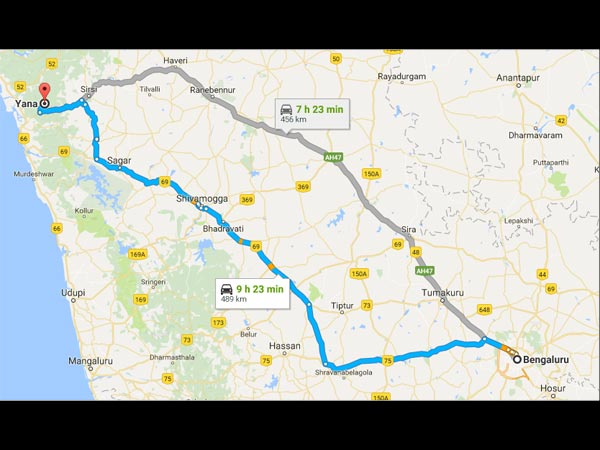 Routes From Bangalore To Yana