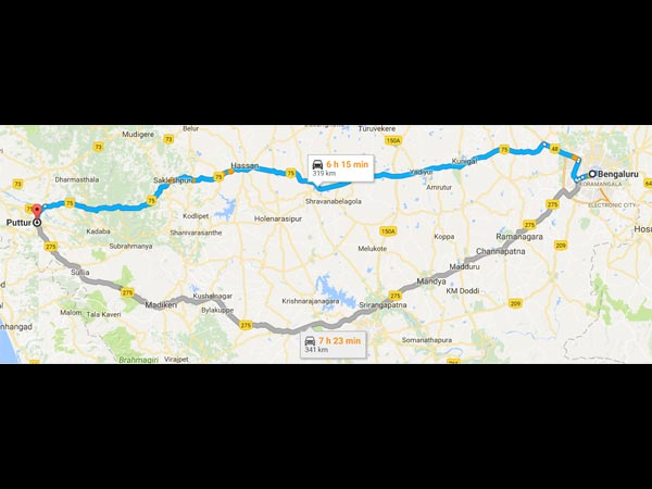 Routes From Bangalore To Puttur