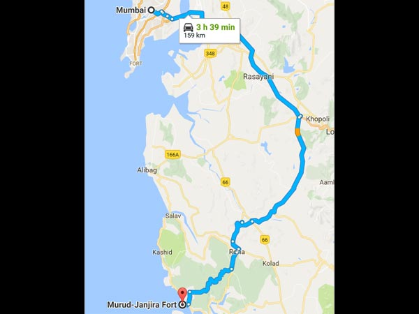 Route From Mumbai To Murud Janjira