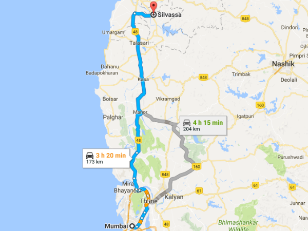 Routes From Mumbai To Silvassa
