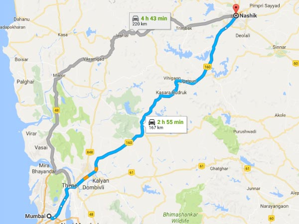 Routes From Mumbai to Nashik