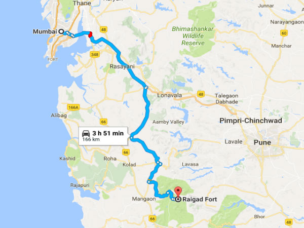 Route From Mumbai To Raigad