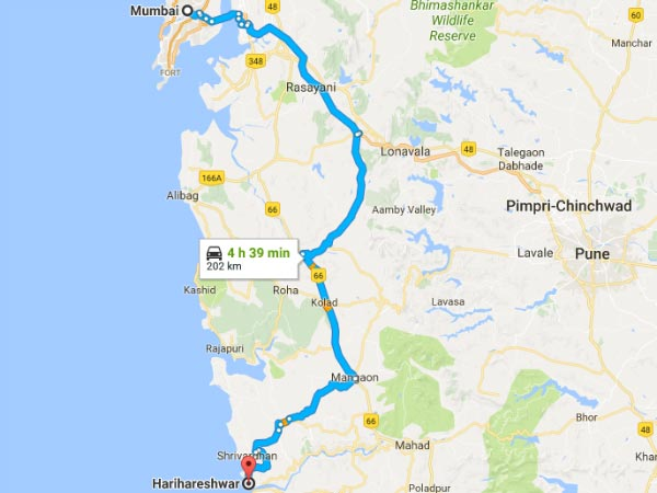 Route From Mumbai To Harihareshwar