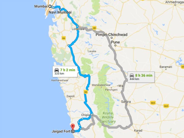 Routes From Mumbai To Jaigad Fort