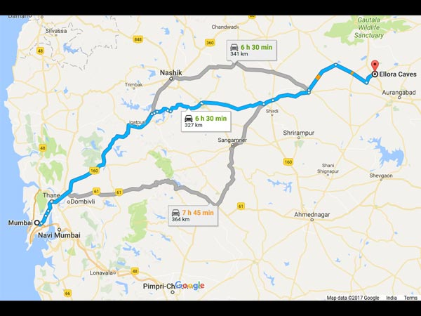 Routes From Mumbai To Ellora Caves