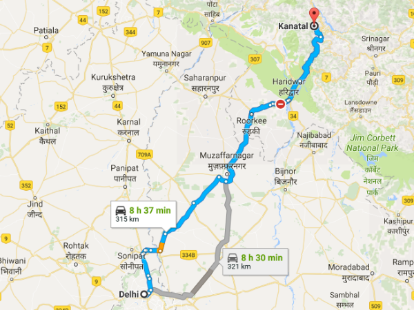 Routes From Delhi To Kanatal