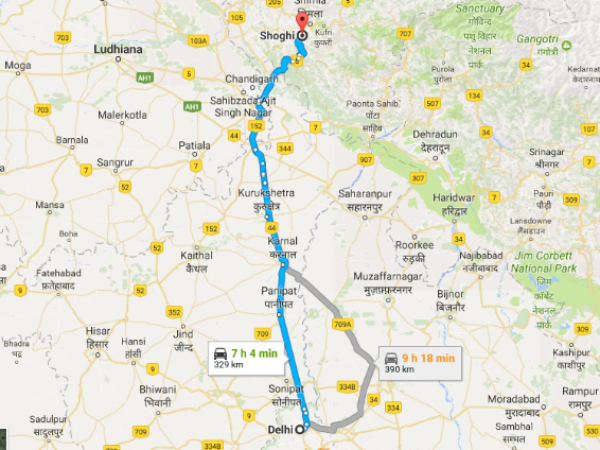 Routes From Delhi To Shoghi