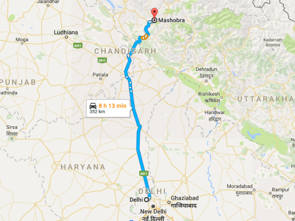 Routes From Delhi To Mashobra