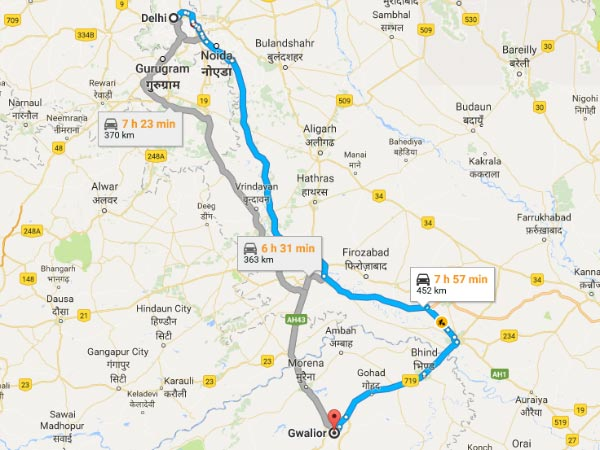 Routes From Delhi To Gwalior