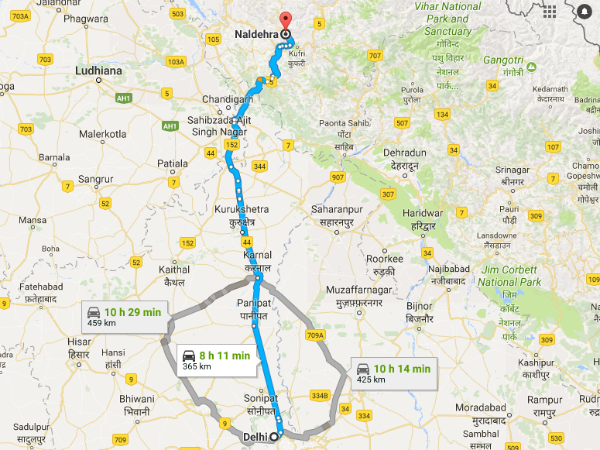 Routes From Delhi To Naldehra