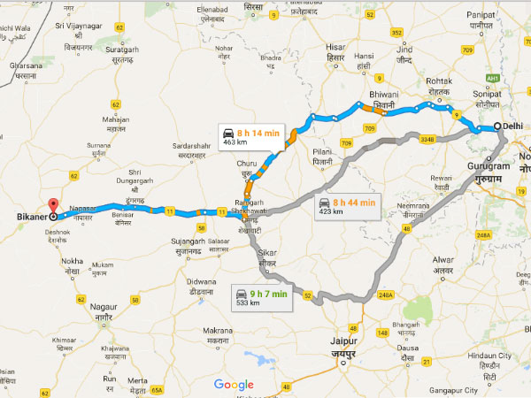 Routes From Delhi To Bikaner