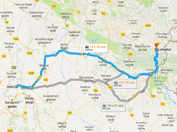 Routes From Delhi To Lohaghat
