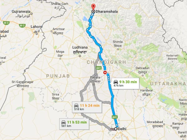 Routes From Delhi To Dharamshala