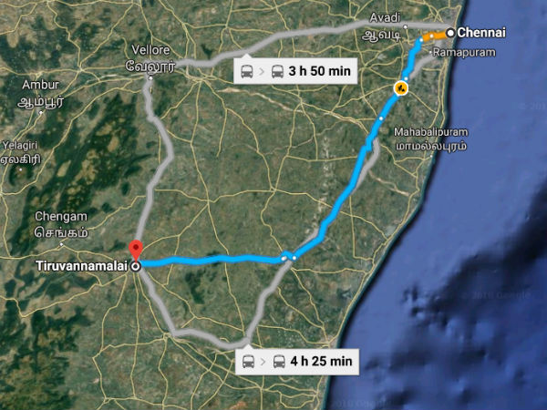 Routes from Chennai To Thiruvannamalai