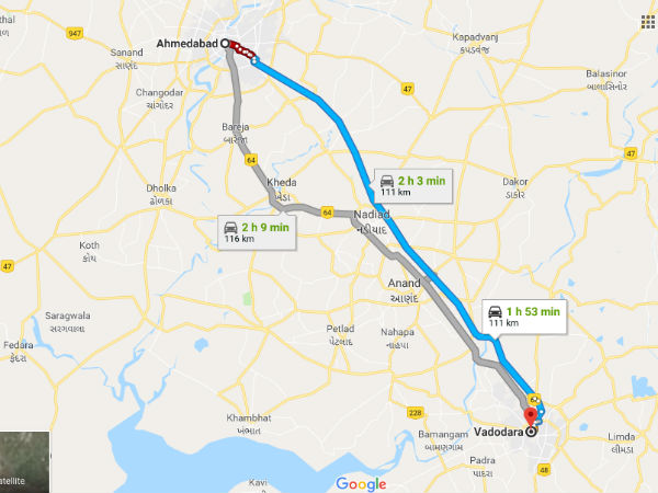 How To Reach Vadodara From Ahmedabad