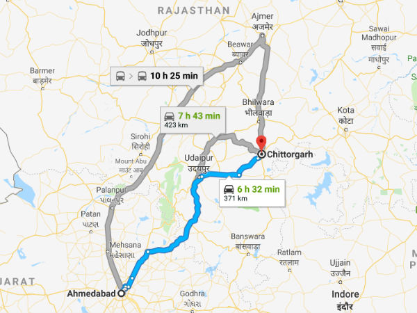 How To Reach Chittorgarh From Ahmedabad