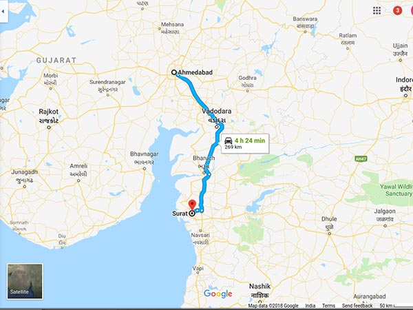 How To Reach Surat From Ahmedabad
