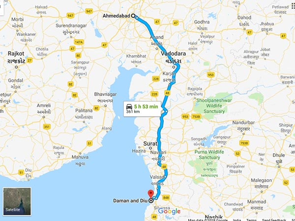 How To Reach Daman And Diu From Ahmedabad