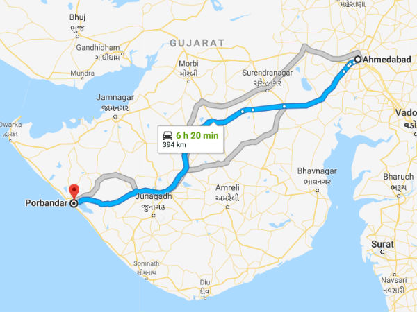 How To Reach Porbandar From Ahmedabad