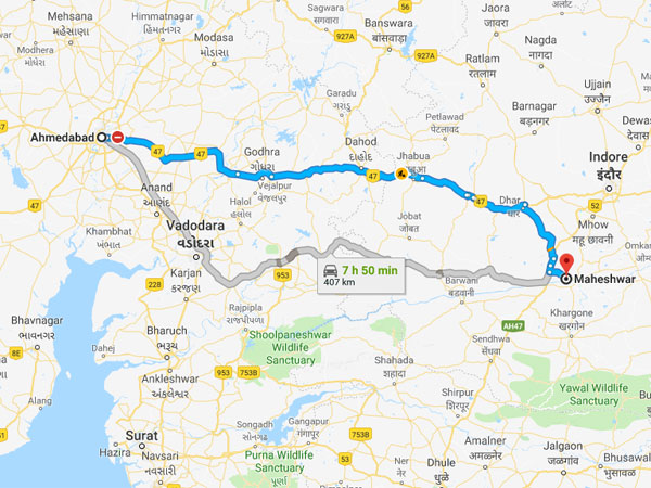 How To Reach Maheshwar From Ahmedabad