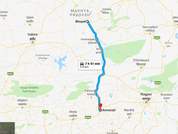 How To Reach Amravati From Bhopal