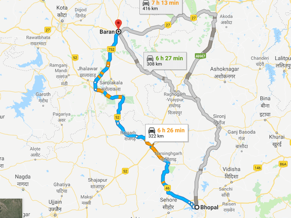 How To Reach Baran From Bhopal