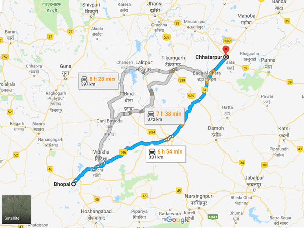 How To Reach Chhatarpur From Bhopal