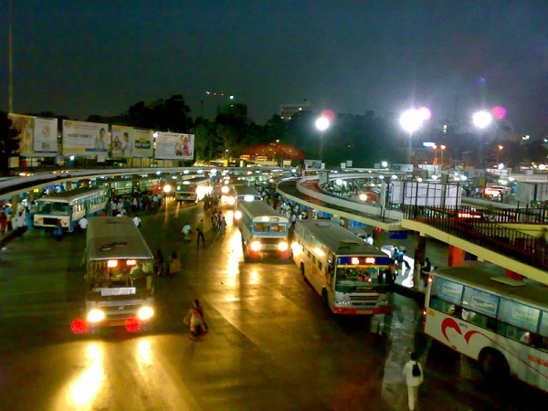 Bangalore Photos - Night view of the bus stand