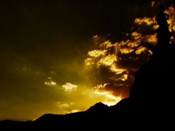 Leh photos, Shanti Stupa - Sunset view