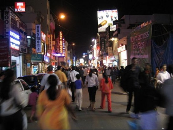Bangalore photos, Commercial Street - Street View At Night