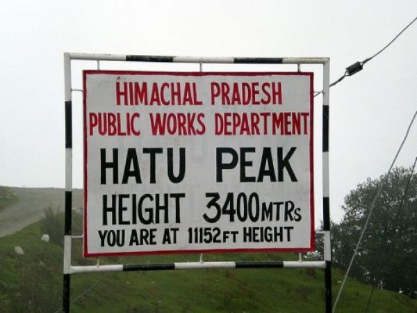 Narkanda photos, Hatu Peak - A board put up atop the peak